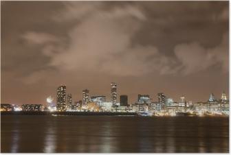 Liverpool Fyrværkeri Panorama på nytårsaften Plakat