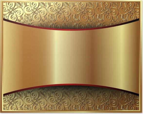 4771fe6021d1 Metallisk guld baggrund med et mønster 2 Plakat • Pixers® - Vi lever ...