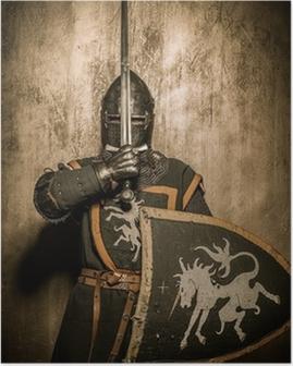 Middelalderlig ridder med sværd foran hans ansigt Plakat