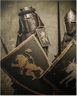 Plakat Middelaldrende riddere på grå bakgrunn.