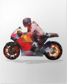 Plakat Motorsykkel, abstrakt geometrisk vektor silhuett. Motorsykkel tur