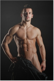 Muskuløs ung sexet nøgen mand indpakket i silke Plakat