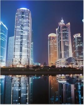 Nat udsigt over shanghai finansielle center distriktet Plakat