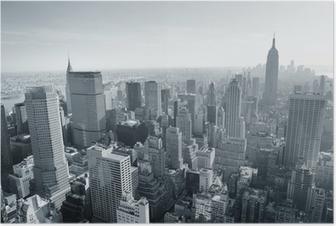 New York City skyline sort og hvid Plakat