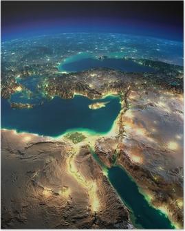 Plakat Night Earth. Afrika og Midtøsten