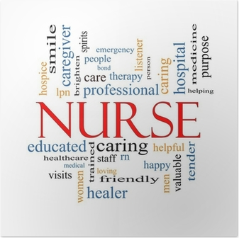 Nurse Word Cloud Concept Plakat