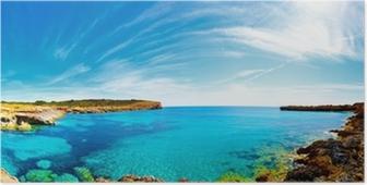 Panorama af bugten med klippehavne, Mallorca, Spanien Plakat