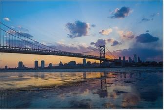 Panorama over Philadelphia skyline Plakat