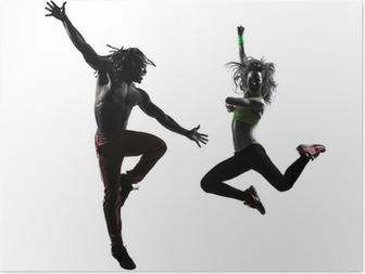 Par mand og kvinde udøver fitness zumba dansende silhuet Plakat