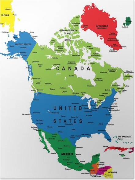 nord amerika kart Plakat Politisk kart over Nord Amerika • Pixers®   Vi lever for  nord amerika kart