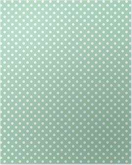 Plakat Polka prikker på fersk mynte bakgrunn sømløs vektor mønster
