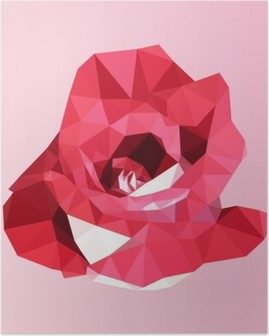 Polygonal rød rose. poly lav geometrisk trekant blomst vektor Plakat