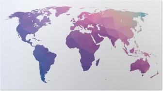 Plakat Polygonalt verdenskart