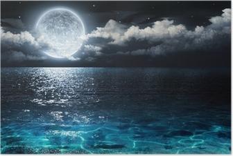 Romantisk og naturskønt panorama med fuldmåne på hav til nat Plakat
