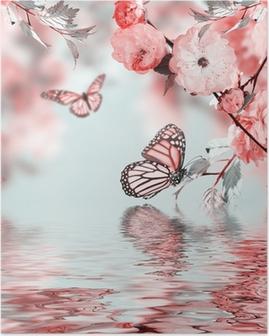 Plakat Rosa blomst av en orientalsk kirsebær i og sommerfugl