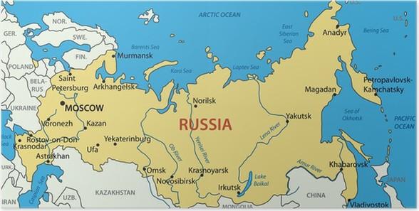 russland kart Plakat Russland   vektor kart • Pixers®   Vi lever for forandring russland kart