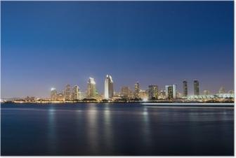 San Diego Skyline at Night Plakat