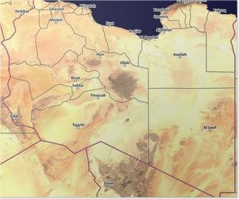 Fototapet Satellitt Kart Over Libya Med Byer Og Provinslinjer