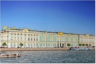 Se Vinterpaladset I Sankt Petersborg Fra Neva Floden Rusland Plakat