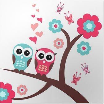 Smuk romantisk kort med ugler Plakat