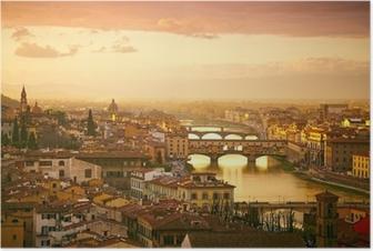 Solnedgang udsigt over broen Ponte Vecchio. Firenze, Italien Plakat