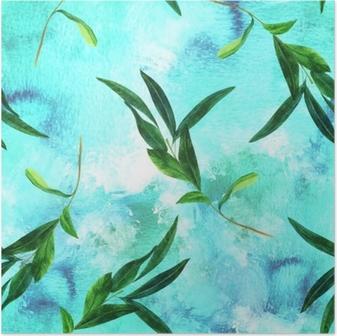 ec14bcf08 Sømløs mønster med akvarell oliven gren på blå