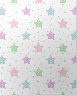 Plakat Sømløs stjerne mønster for barnferier. pastellfarger baby shower vektor bakgrunn. søt barn tegning stil stjerne himmelen illustrasjon.