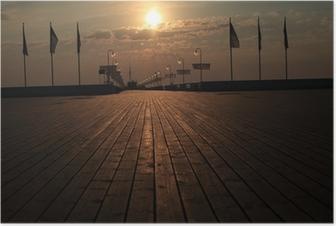 Sopot molo wschód słońca Plakat