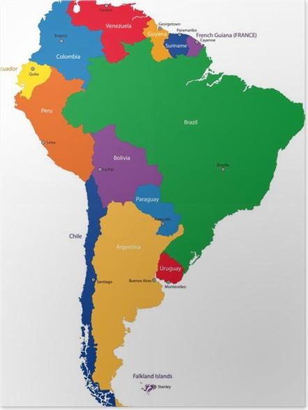 syd amerika kart Plakat Sør Amerika kart • Pixers®   Vi lever for forandring syd amerika kart