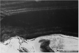 Sort og hvid håndmalet baggrundsstruktur med grunge penselstrøg Plakat