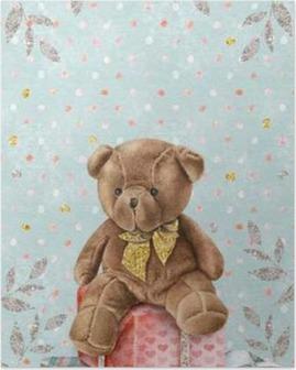 Plakat Søt akvarellbamse med gavekasser