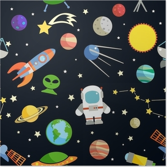 Space Seamless Pattern Plakat