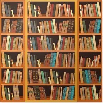 Stor bogreol med forskellige bøger Plakat