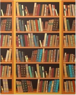 Plakat Stor bokhylle med forskjellige bøker