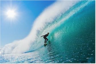 Surfer på Blue Ocean Wave Plakat