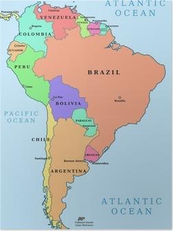 Latinamerika Enkeltstats Politiske Kort Lande I Forskellige