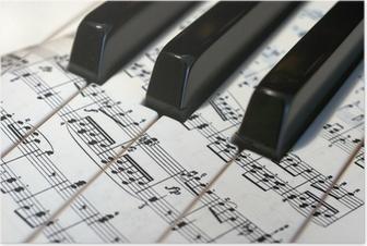 Teclas de piano con notas musicales Plakat