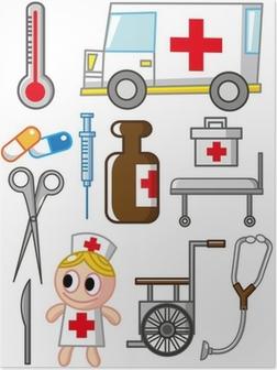Tegneserie hospital ikon Plakat