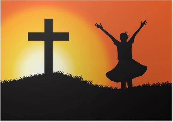 a449c1c5 Plakat Tilbedelse silhuett • Pixers® - Vi lever for forandring