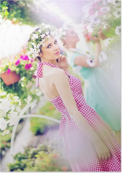 Plakat To vakre kvinner i den store hagen - Kvinner