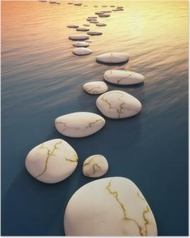 Trin sten solnedgang Plakat
