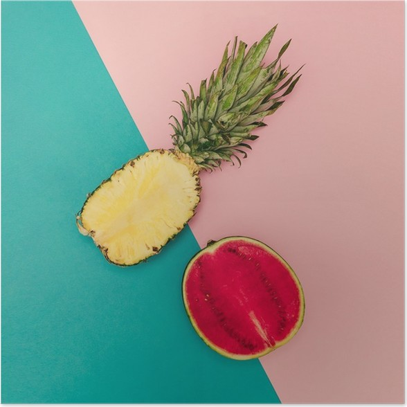 Plakat Tropisk blanding. Ananas og vannmelon. minimal stil - Livsstil