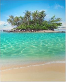 Tropisk ø og sandstrand eksotisk rejse baggrund Plakat
