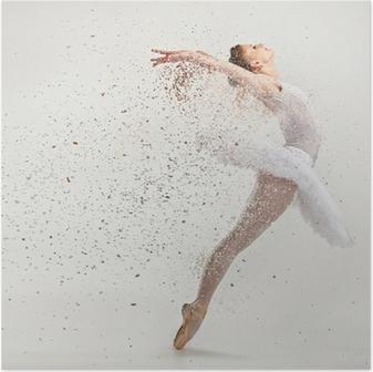 Ung ballerina danser i tutu udfører på pointes Plakat
