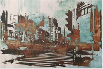 Plakat Urban cityscape med abstrakt grunge, illustrasjonsmaleri