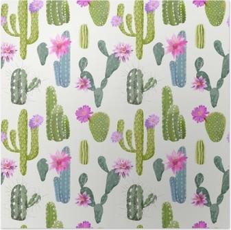 Vector Cactus Baggrund. Problemfri mønster. Eksotisk plante. Tropic Plakat
