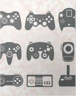 Plakat Vector Set: Video Game Controller Silhouettes