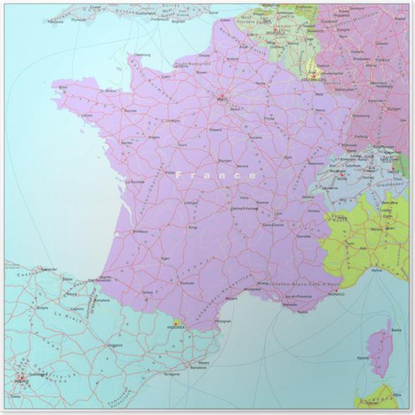 kart veibeskrivelse europa Plakat Veibeskrivelse og kart over Frankrike • Pixers®   Vi lever  kart veibeskrivelse europa