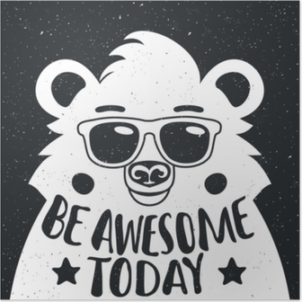 Plakat Vektor illustrasjon med stilig hipster hvit bjørn i solbriller.