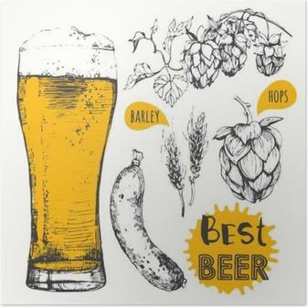 Vektor illustration af øl og pølser. Pub menu. Plakat
